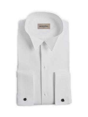 Smokingskjorte med plisse og skjulte knapper Sort hvitt